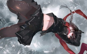 Picture girl, rain, sword, scarf