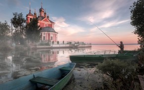 Picture landscape, nature, river, fisherman, boats, morning, temple, Andrei, Trubezh, Pereslavl
