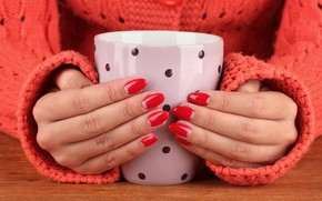 Picture girl, hands, Cup, nails, manicure