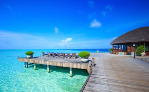 Picture sea, the sky, the sun, tropics, horizon, The Maldives, resort, sunbeds, sun loungers