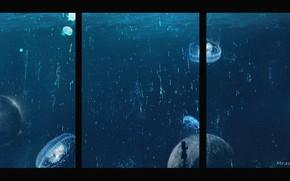Picture aquarium, jellyfish, girl, in the dark, air bubbles, aquarium