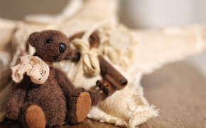 Picture childhood, style, retro, background, toy, light, key, bear, bear, fabric, bear, sitting, brown, scarf, plush, …