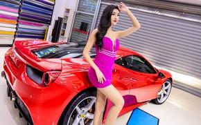 Picture look, Girls, Ferrari, Asian, beautiful girl, red car, posing on the car