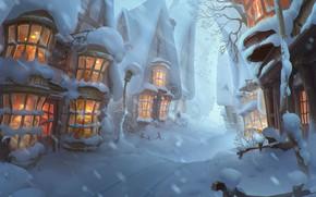 Wallpaper winter, snow, mood, beauty, art, town, Yelizaveta Lebedeva, Winter is coming in Hogsmeade!