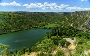 Picture trees, lake, hills, height, forest, Croatia