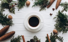 Picture decoration, New Year, Christmas, Christmas, wood, cup, New Year, coffe, decoration, a Cup of coffee, …