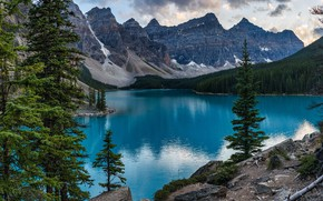 Picture forest, clouds, trees, mountains, nature, lake, stones, rocks, Canada, Banff National Park, Alberta, Canada, Moraine …