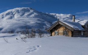 Picture snow, winter, house, Norway, hills
