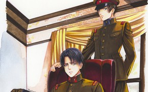 Picture room, figure, art, guys, military, Attack Of The Titans, Shingeki No Kyojin, Eren Yeager, Levi …