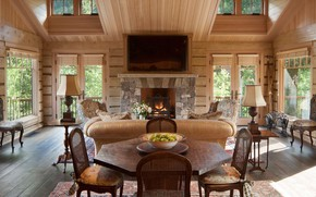 Picture interior, fireplace, living room, dining room