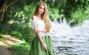 Picture water, girl, trees, blonde, Maxim Romanov
