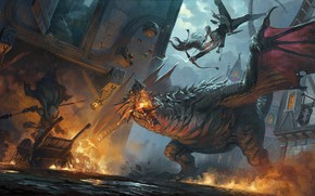 Picture the city, fire, dragon, Archer, battle, fantasy art, Hugh Pindur