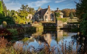 Picture landscape, nature, pond, castle, England, Kent, mansion, gardens, Scotney Castle, Scotney castle