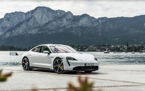 Picture mountains, Porsche, Turbo S, the pond, 2020, Taycan