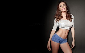 Picture sexy, background, model, shorts, tummy, makeup, figure, hairstyle, brown hair, topic, legs, beauty, is, posing, …
