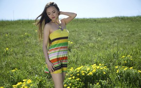 Picture sky, hot girl, field, nature, nipples, outside, green grass, hillside, countryside, pretty girl, posing, beautiful …