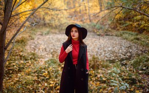 Picture autumn, look, leaves, trees, Park, model, portrait, hat, makeup, hairstyle, brown hair, beauty, coat, nature, …
