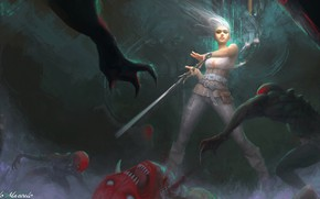 Picture darkness, sword, monsters, The Witcher 3: Wild Hunt, Ciri