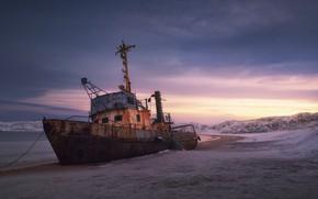 Picture dawn, ship, morning, The Kola Peninsula, Teriberka, Анна Политова