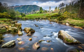 Picture trees, river, stones, tower, valley, Ireland, Ireland, Glendalough, County Wicklow, Glendalough, County Wicklow