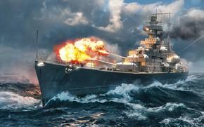 Picture The ocean, Sea, Fire, Ship, Flame, Cruiser, Ocean, Sea, Sea battle, Ship, World of Warships, …