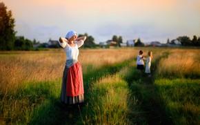 Picture field, grass, girl, the sun, children, childhood