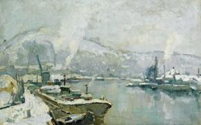Picture picture, Seine and Sainte Catherine hill at Rouen in winter, Robert Antoine Pinchon, 1930-35, Robert-Antoine …