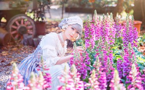 Picture summer, girl, light, flowers, nature, style, garden, dress, outfit, Asian, photoshoot, provincial