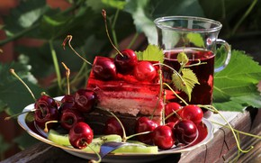 Picture leaves, light, cherry, glass, berries, Board, food, juice, plate, cake, red, drink, cake, fruit, still …