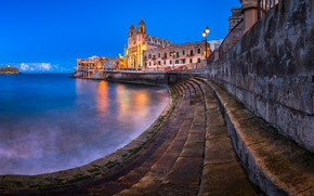 Picture the city, the evening, lighting, lights, Church, promenade, Malta, Malta, The Church Of The Mother …