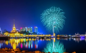 Picture night, fireworks, Sochi