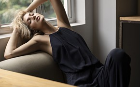 Picture pose, room, sofa, window, blonde, girl, jumpsuit