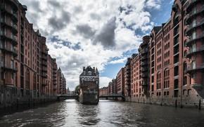 Wallpaper the city, river, architecture, Hamburg, Speicherstadt