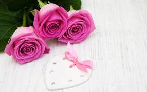 Picture roses, bouquet, pink, heart, ribbon, Olena Rudo