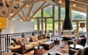 Picture furniture, interior, fireplace, Golf Resort Andermatt, гольф клуб, Golf club haus, The Club House