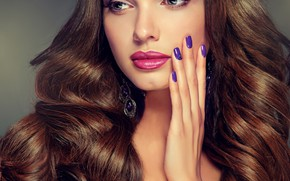 Picture girl, hair, makeup, hairstyle, long, curls, manicure