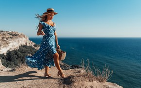 Picture girl, pose, rock, coast, polka dot, dress, hat, Crimea, The black sea, Nick Wakaluk, Антон …