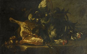 Picture oil, picture, canvas, 1671, Still life with Meat and Dead Birds, Christoffel Puytlinck