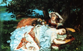 Picture picture, genre, Gustave Courbet, Gustave Courbet, Girls on the Banks of the Seine