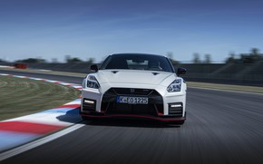 Picture white, track, turn, before, Nissan, GT-R, R35, Nismo, 2020, 2019