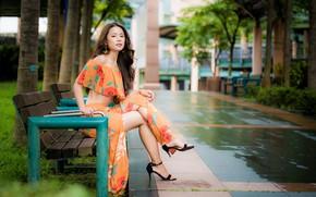 Picture girl, Park, brown hair, legs, Asian, bench, bokeh, sandals