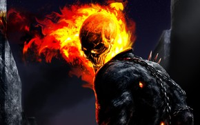 Picture flame, skull, the demon, Ghost Rider