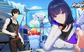 Picture girl, ice cream, cafe, guy, the waiter, Honkai Impact 3rd, Raiden Mei