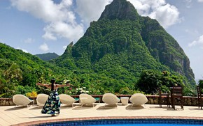 Picture girl, stay, mountain, pool, Caribbean, Saint Lucia