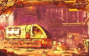 Picture Art, cyberpunk, Concept Art, Environments, Transport & Vehicles, Sergii Golotovski, by Sergii Golotovski, Digitalart, environme, ...