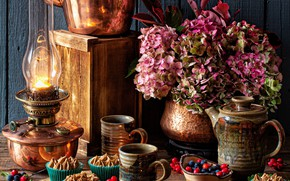 Picture flowers, style, berries, lamp, kettle, mugs, cakes, hydrangea, chestnuts