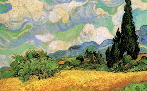 Picture Vincent van Gogh, Wheat Field with, Galline Near, Cypresses at the Haute, Eygalieres