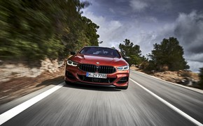 Picture road, coupe, speed, BMW, Coupe, 2018, 8-Series, dark orange, M850i xDrive, Eight, G15