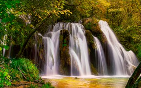 Picture autumn, forest, river, France, waterfall, cascade, France, Waterfall Tuffs, Cuisance River, River Quizas, Каскад Де …
