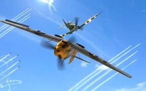 Picture Messerschmitt, Spitfire, Supermarine Spitfire, Battle of Britain, Emil, Messerschmitt Bf 109 E-4, Bf-109E, Spitfire Mk.IIa